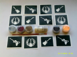Guitar themed glitter tattoo set including 30 stencils + glitter + glue    music festivals Ronin V
